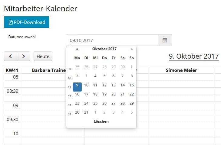 Mitarbeiter-Kalender: Sprung zu Datum