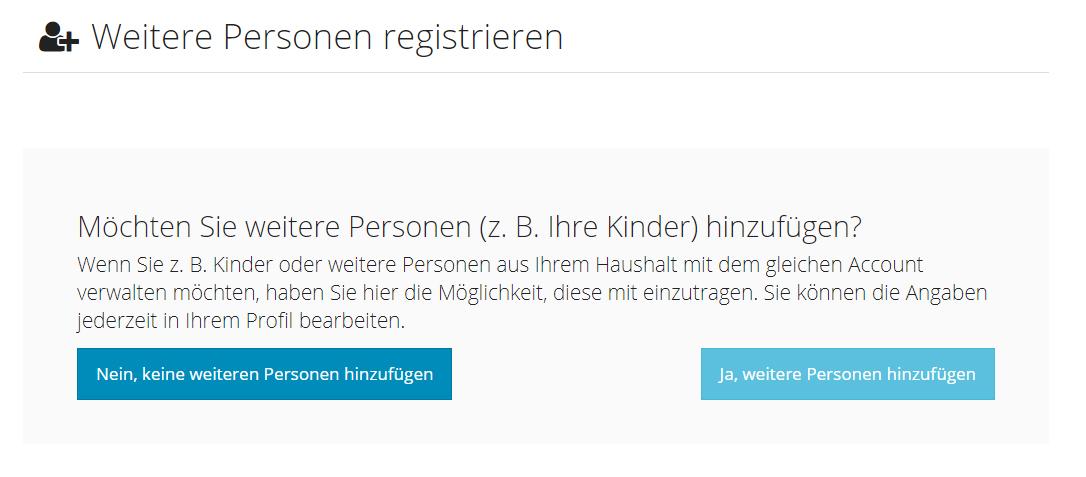 Kunde - Registrierung - weitere Personen - Ausgabe