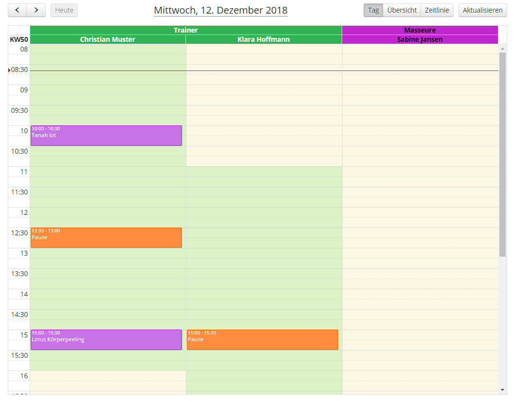 Wellness - Mitarbeiterkalender