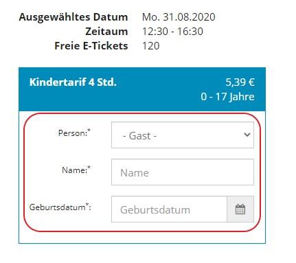 Personalisiertes Ticket: Gast eintragen