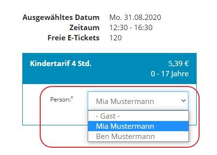 Personalisiertes Ticket: Person aus Account auswählen