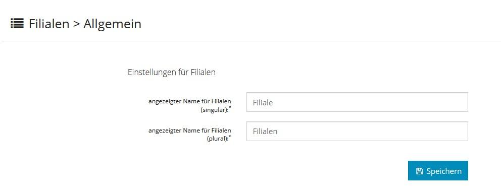 Filiale- Namen ändern