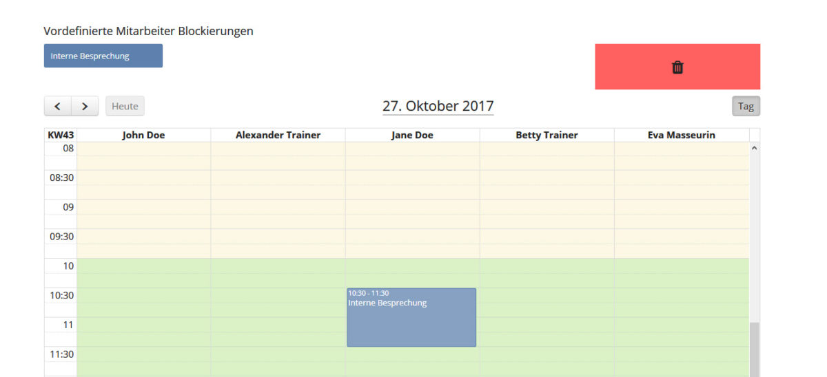 Mitarbeiterkalender - Blockierung anwenden