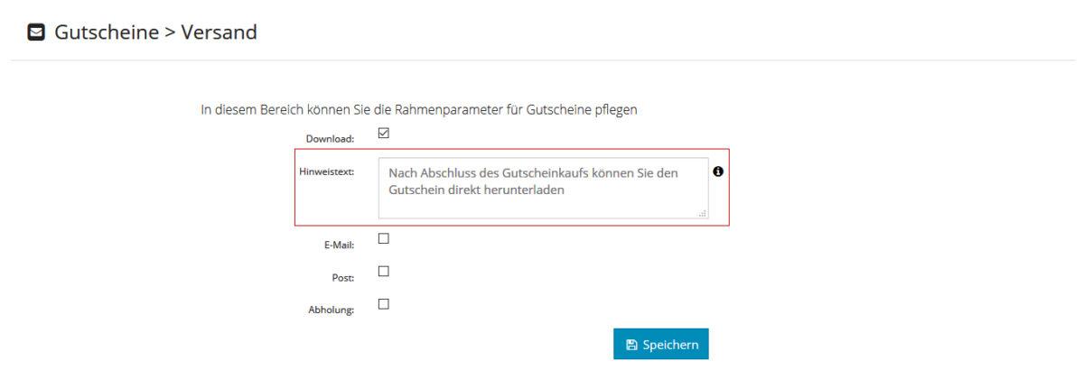 Gutschein - Versandart - Hinweistext