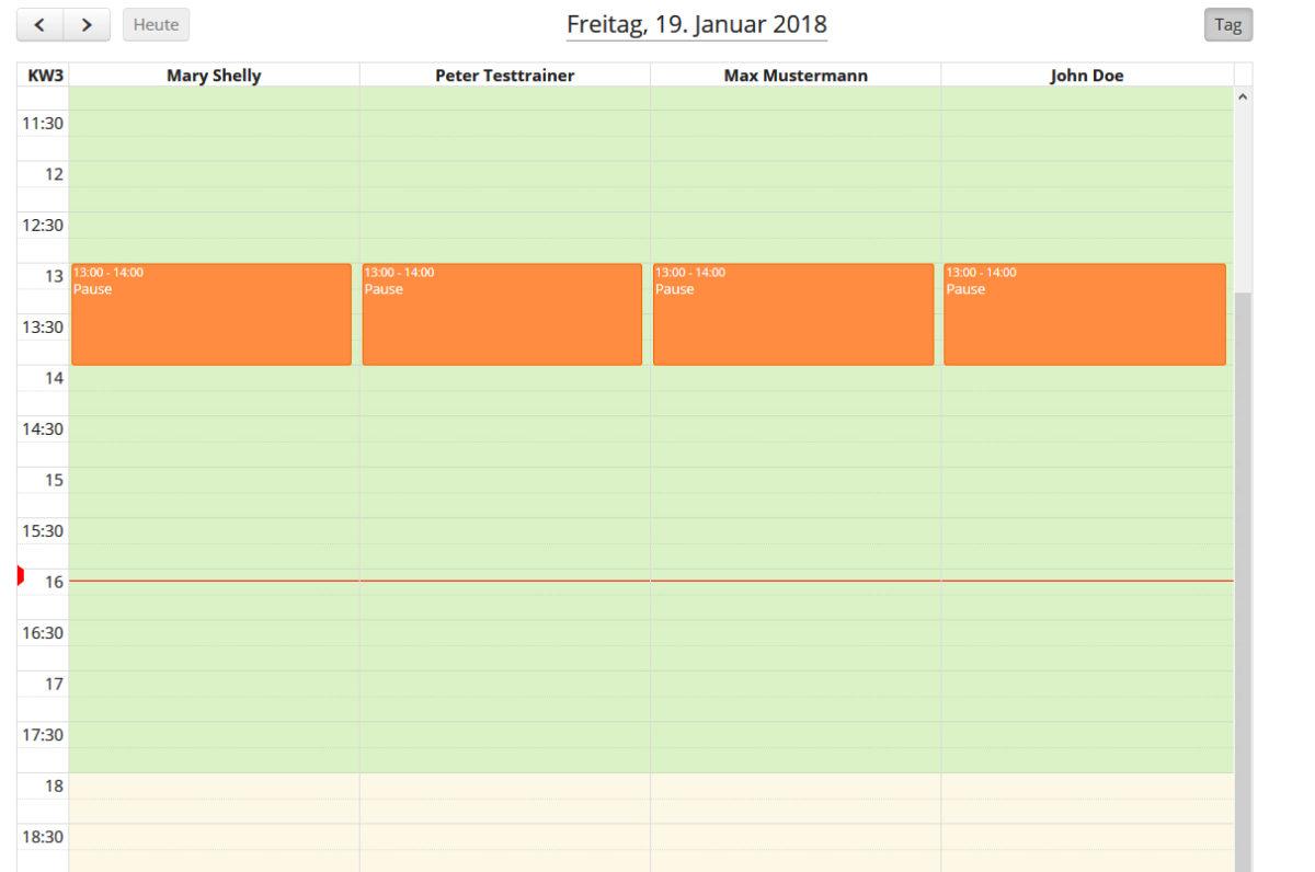 Wellness - Mitarbeiterkalender - Zeitstrang