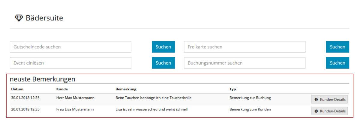Admin- Bemerkungen auf Startseite anzeigen