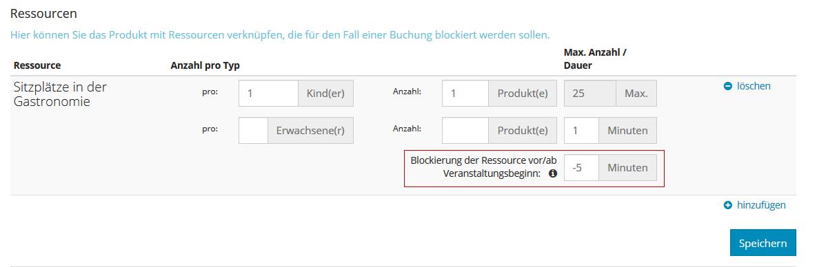 Ressource - Blockierung vor/nach Veranstaltungsbeginn