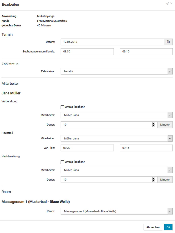 Administrator - Mitarbeiterkalender - Zwischenseite