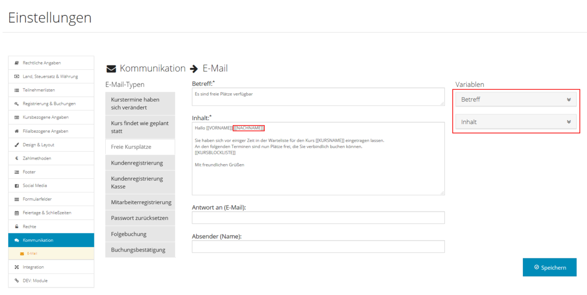 E-Mail-Texte - Variablen