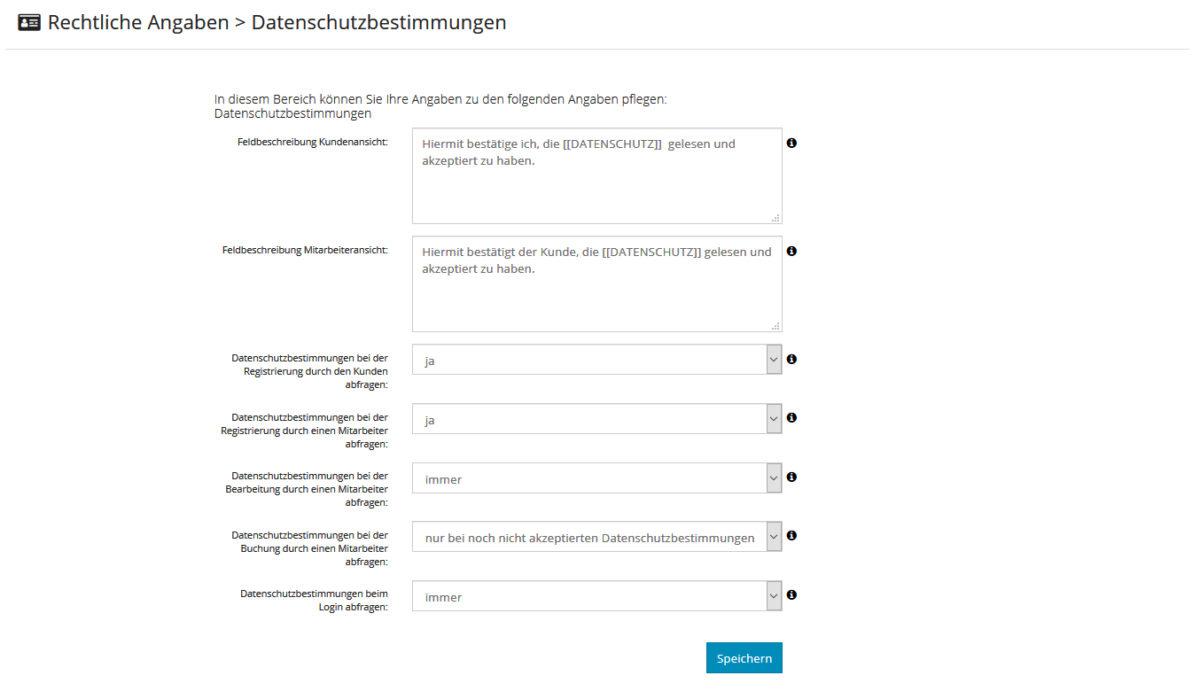 Datenschutzbestimmungen & AGB konfigurieren