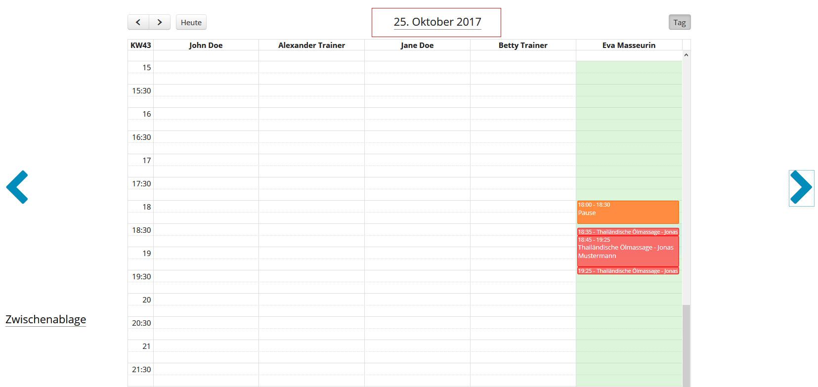 Anwendung im Mitarbeiter-Kalender verschieben - Anwendung positionieren