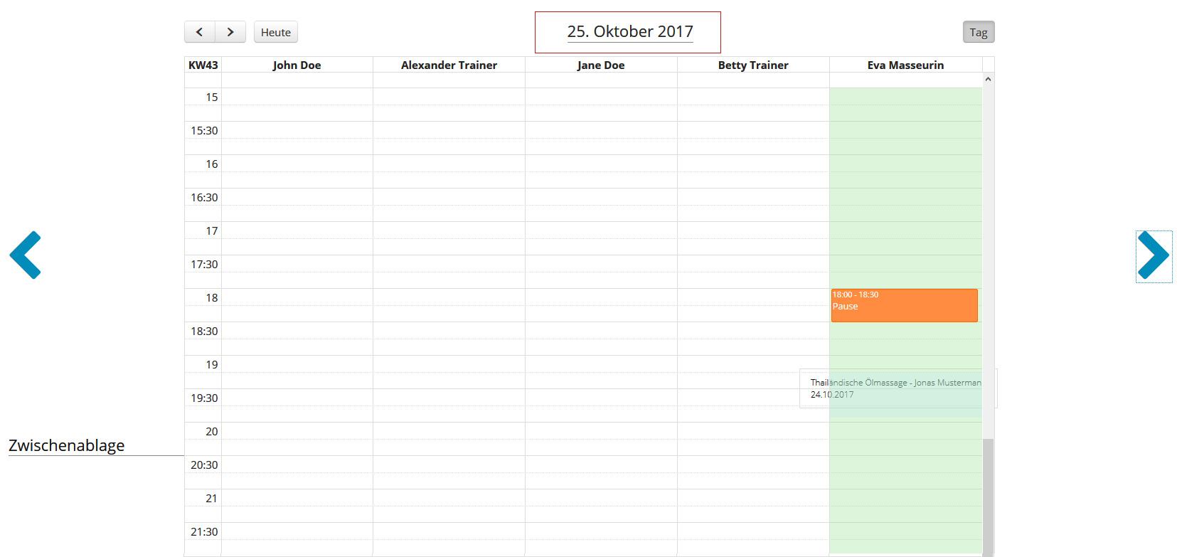 Anwendung im Mitarbeiter-Kalender verschieben - Sprung auf den nächsten Tag