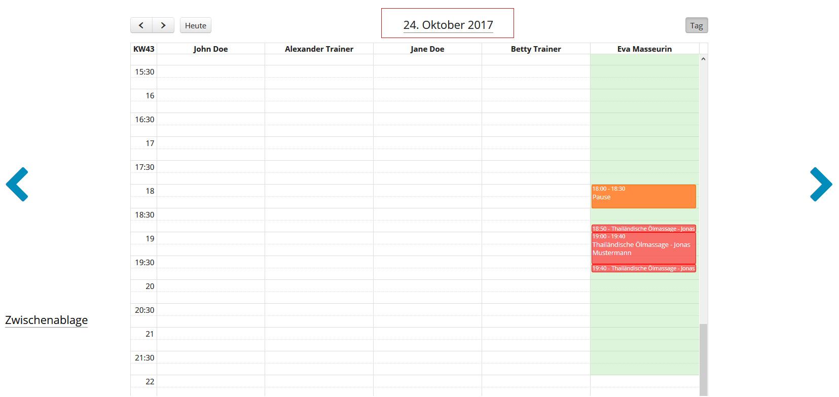 Anwendung im Mitarbeiter-Kalender verschieben