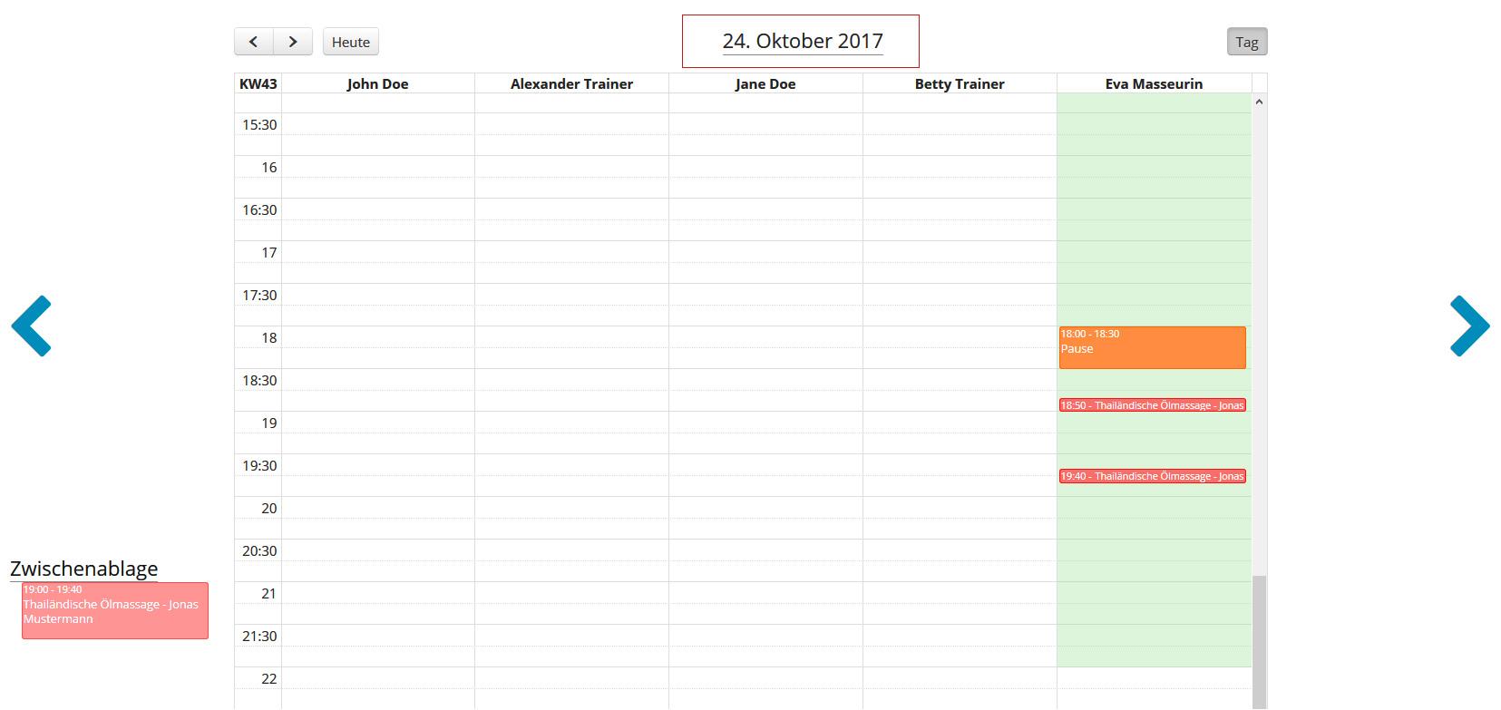 Anwendung im Mitarbeiter-Kalender verschieben - Zwischenablage
