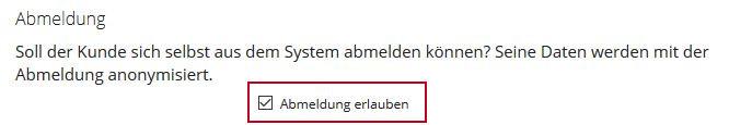 Einstellungen -> Registrierung/Abmeldung