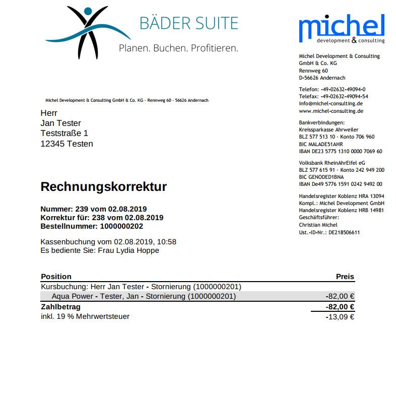 Bestellungen - Rechnungskorrektur