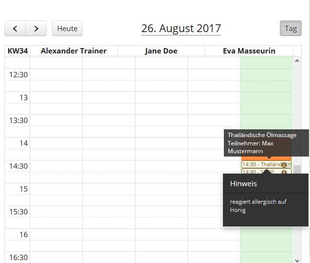 Mitarbeiter-Kalender mit Kundenbemerkungen