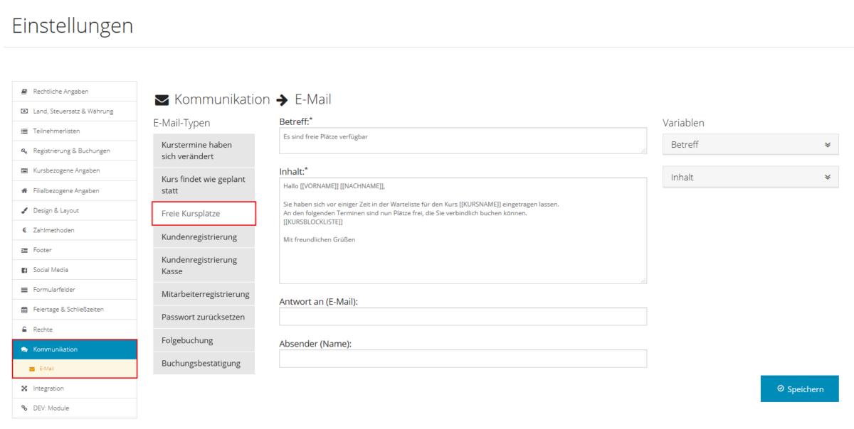 E-Mail-Texte ändern