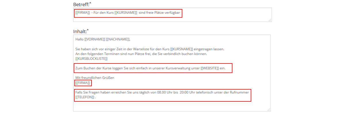 E-Mail-Text - individualisieren